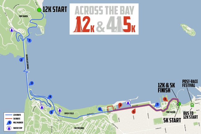12k Across the Bay Course Map